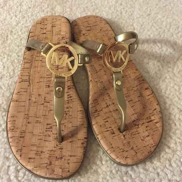 540616a85980 Michael Kors MK Charm Sandal Flip Flop -Gold Cork.  M 5a91cad79d20f07a27b024b0